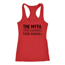 Load image into Gallery viewer, The Myth, The Legend, The Boss Racerback Tank