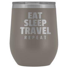 Load image into Gallery viewer, EAT SLEEP TRAVEL REPEAT Wine Tumbler