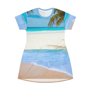 Sandy Beach All Over Print T-Shirt Dress