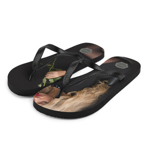 Blonde with Rose Theraphina Logo Flip-Flops