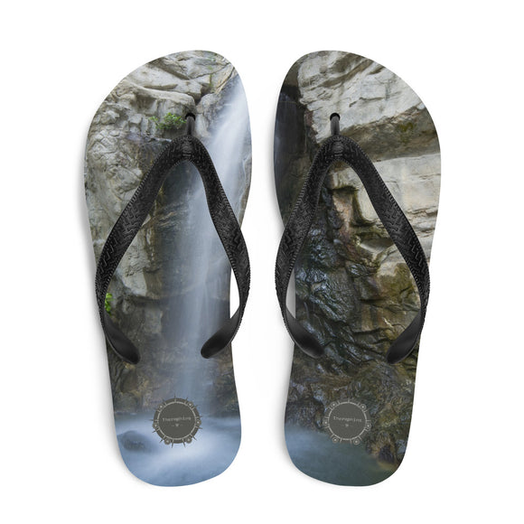 Waterfall Rockface Theraphina Logo Flip-Flops