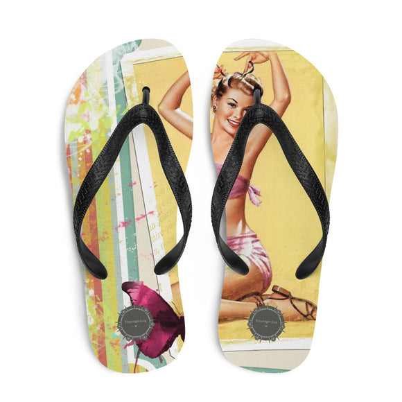 Vintage Pin Up Theraphina Logo Flip-Flops