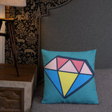 Teal Double Sided Multicolour Diamond Premium Pillow