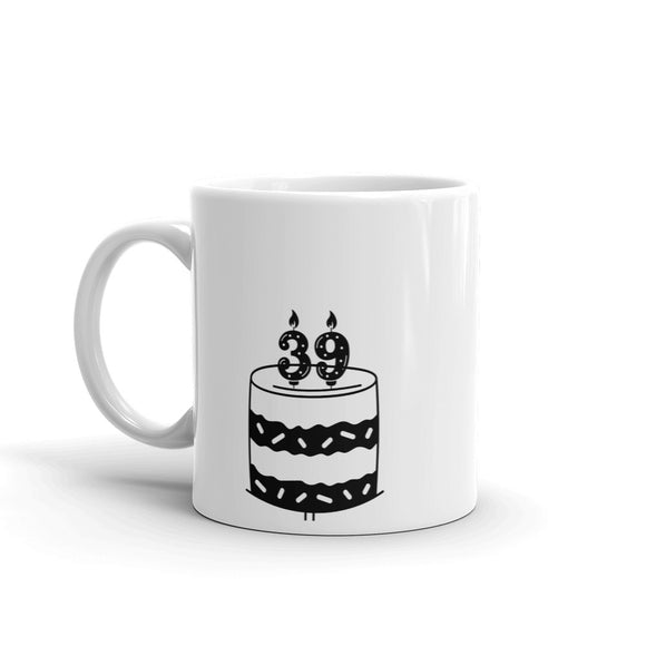 Birthday Cake with 39 candles on top Gift For Happy Birthday Mug for Him or Her
