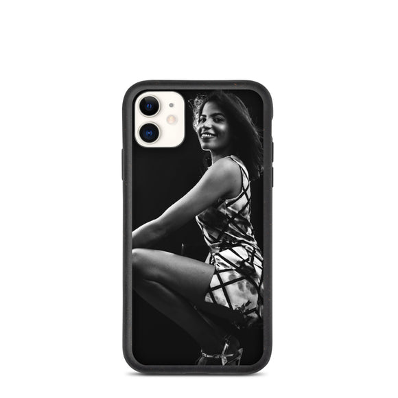 Confident Cutie in White & Black Dress with Heels Biodegradable phone case