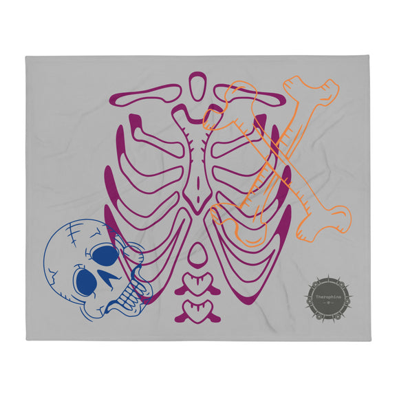 Light Grey background Various Colours Them Bones Skeleton Halloween With Theraphina Logo Design Throw Blanket