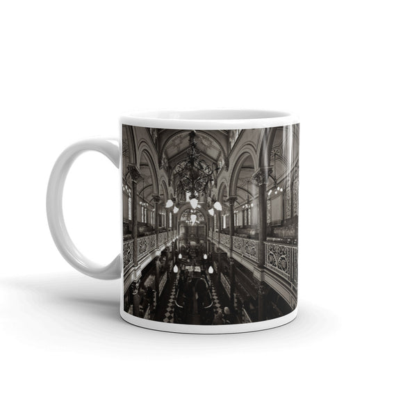 Interior of Synagogue Black & White Art Print Mug