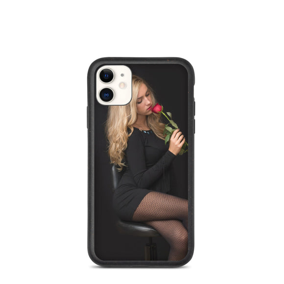 Blonde in Black Dress Stockings with Red Rose Biodegradable phone case