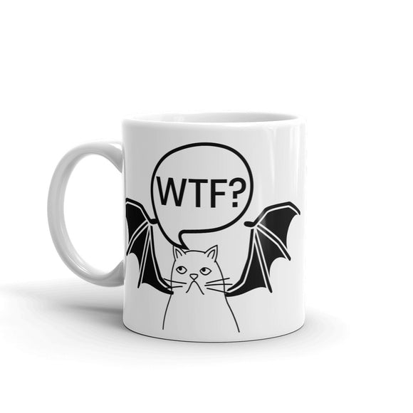 WTF? Unhappy Cat with Bat Wings Halloween Funny Gag Gift Sense of Humour Mug For Him or Her