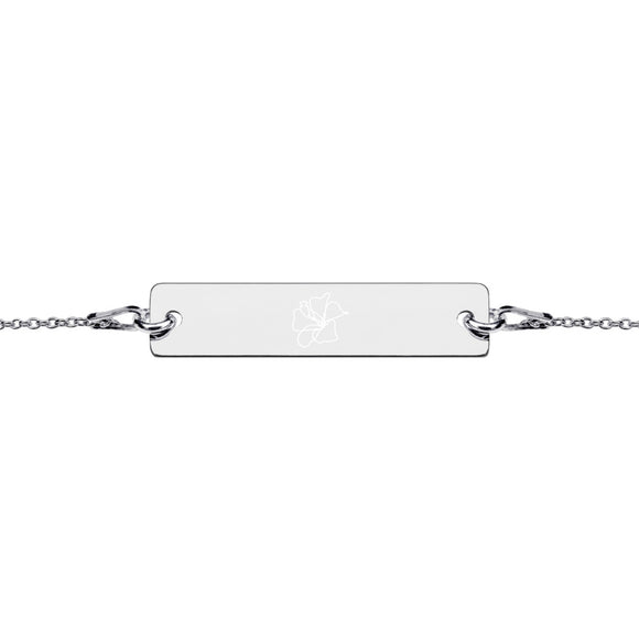 Hibiscus Flower Minimalist Jewelry Engraved Silver Bar Chain Bracelet