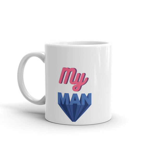 My Man Pink & Blue Text Cute Show Your Love Mug For Him or Her