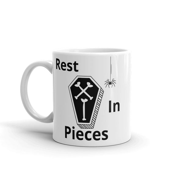 Rest In Pieces Coffin Spider Halloween Design Mug Gift For Him or Her