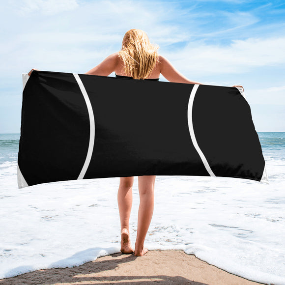 Black & White Tennis Ball For Sports Enthusiast Design Beach Towel For Him or Her