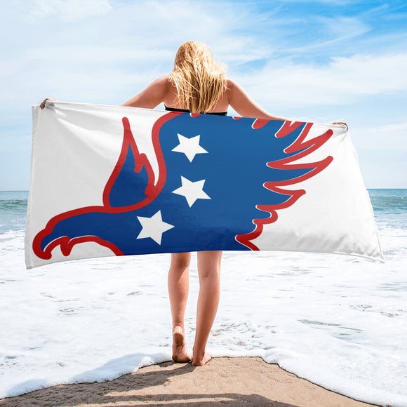 Red White & Blue Eagle in Flight Beach Towel For Him or Her