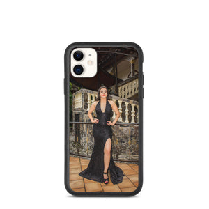Courtyard Curvy Brunette in Black Ball Gown Biodegradable phone case