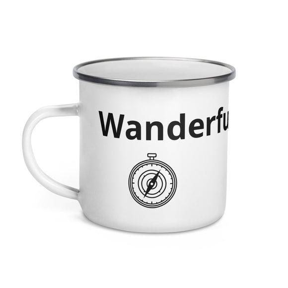 Wanderful Pun Design Black Text Compass Enamel Mug