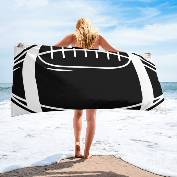 Black & White Football Design For Enthusiast Beach Towel For Him or Her