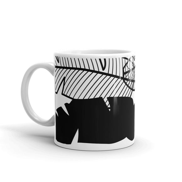 Feather Black & White Wrap Around Design Mug For Him or Her