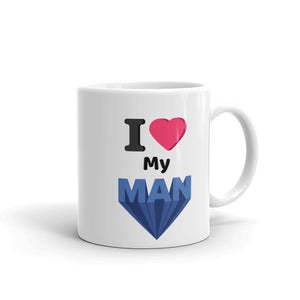 I love my (heart) Man cute Valentines or any special occasion gift for Husband or Boyfriend Mug For Him or Her