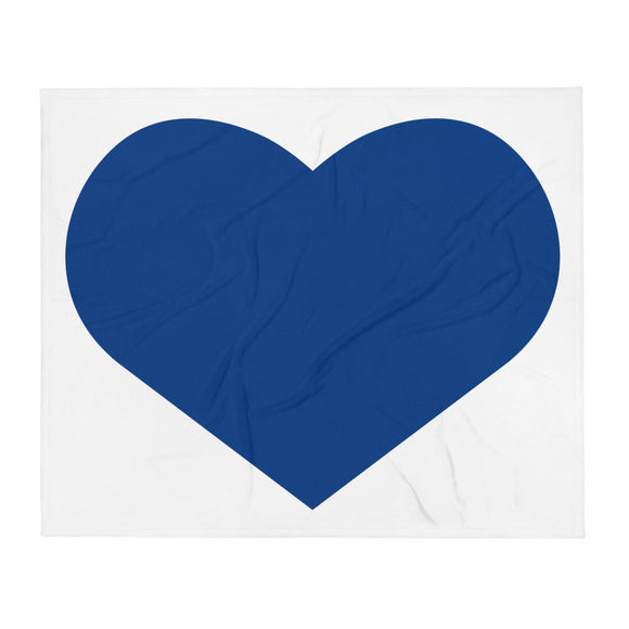 Large Navy Blue Heart Throw Blanket