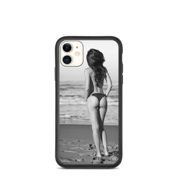 Cute Young Brunette Wearing Thong At Beach Biodegradable phone case