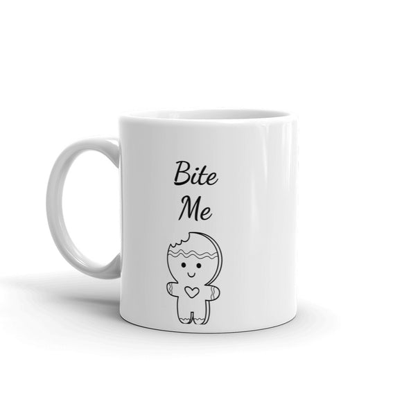 Bite Me Text Gingerbread Cookie with bite out of it cute & funny Gag Gift Sense of Humour Holiday Seasonal Christmas Mug For Him or Her