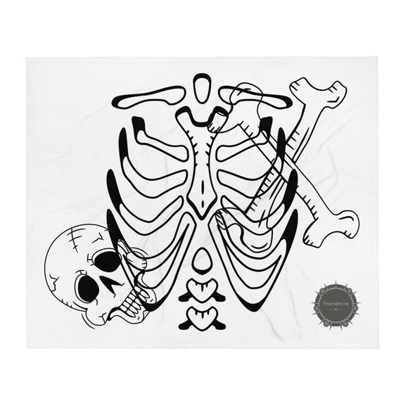 Them Bones Skeleton Halloween With Theraphina Logo Design Throw Blanket