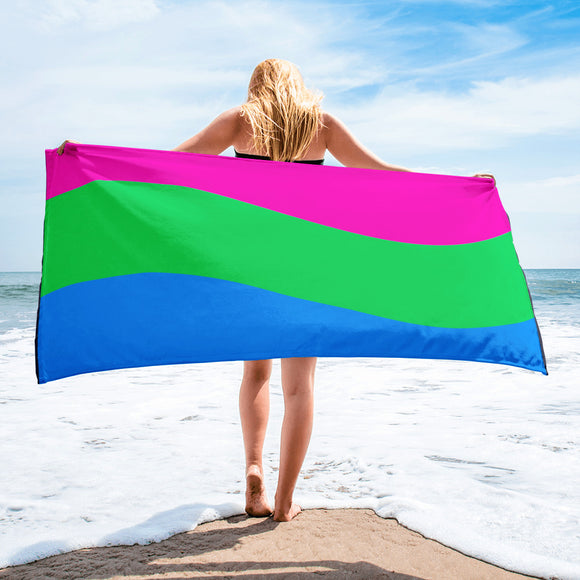Polysexual Pride Flag Beach Towel For Him or Her