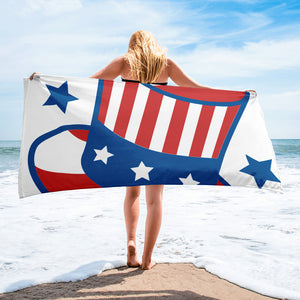 Red White & Blue Uncle Sam's Top Hat Beach Towel For Him or Her
