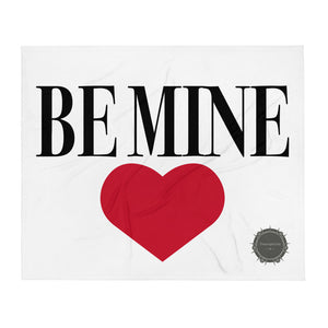 Be Mine Red Heart Valentine's Day Gift Themed White Background With Theraphina Logo Design Throw Blanket