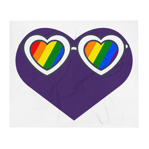 Large Purple Heart with Pride Sunglasses On Throw Blanket