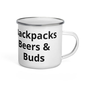 Backpacks Beers & Buds Black Text Enamel Mug