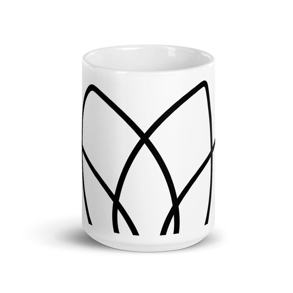 Large Lotus Petal Wrap Around Minimalist Design Mug