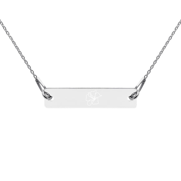 Hibiscus Flower Minimalist Jewelry Engraved Silver Bar Chain Necklace