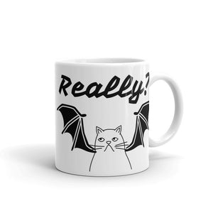 Really? Unhappy Cat with Bat Wings Halloween Funny Gag Gift Sense of Humour Mug For Him or Her