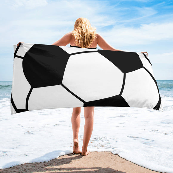 Black & White Soccer ball Design For Enthusiast Beach Towel For Him or Her