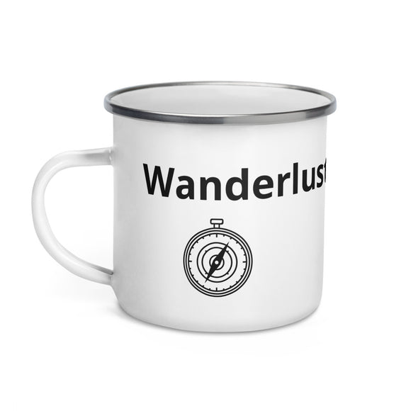 Wanderlust Compass Black Text Enamel Mug