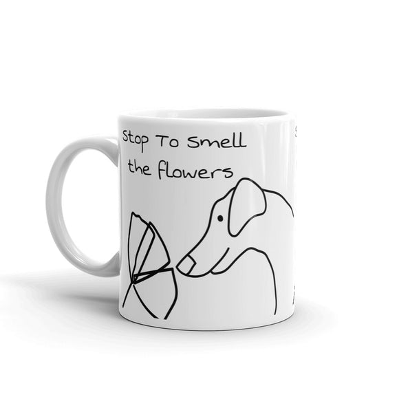 wers Dog sniffing a flower Sweet Cute For Dog Lovers & Flower Lovers Mug For Him or Her