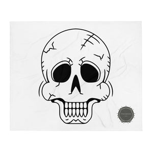 Black Skull White Background Skeleton Halloween With Theraphina Logo Design Throw Blanket