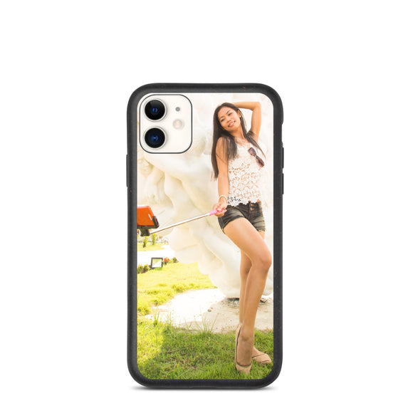 Selfie Stick Cute Girl in Knitted Top & Shorts Biodegradable phone case