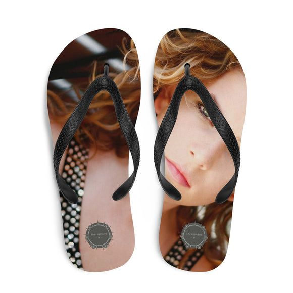 Green Eyed Beauty Theraphina Logo Flip-Flops