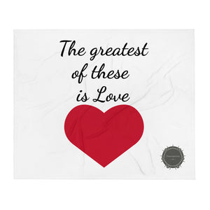 The greatest of these is Love Red Heart Valentine's Day Gift Themed White Background With Theraphina Logo Design Throw Blanket