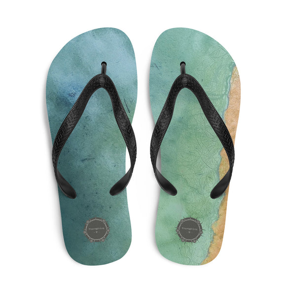 Birds Eye View Of Sea Theraphina Logo Flip-Flops