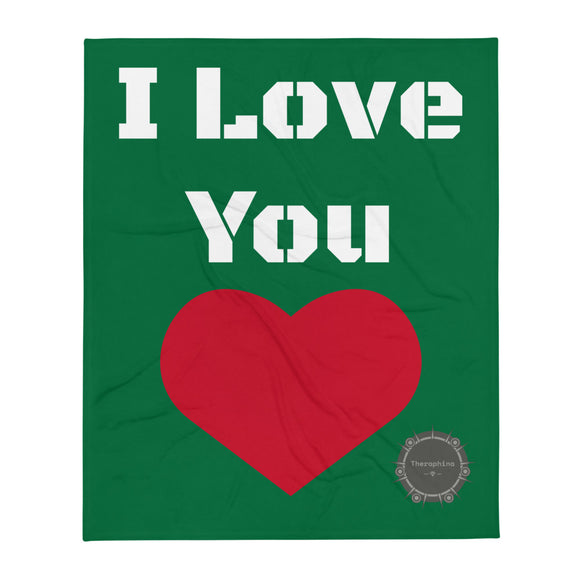I Love You White Stencil Text Green Background Red Heart Valentine's Day Gift Themed White Background With Theraphina Logo Design Throw Blanket