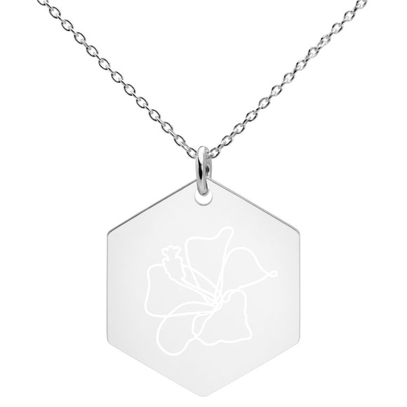 Hibiscus Flower Minimalist Jewelry Engraved Silver Hexagon Necklace