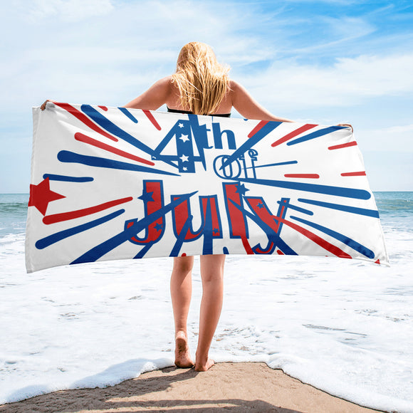 Red White & Blue 4th of July Firework Beach Towel For Him or Her