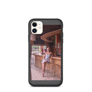 Cute Blonde in Summer Dress Sitting On Bar Stool Biodegradable phone case