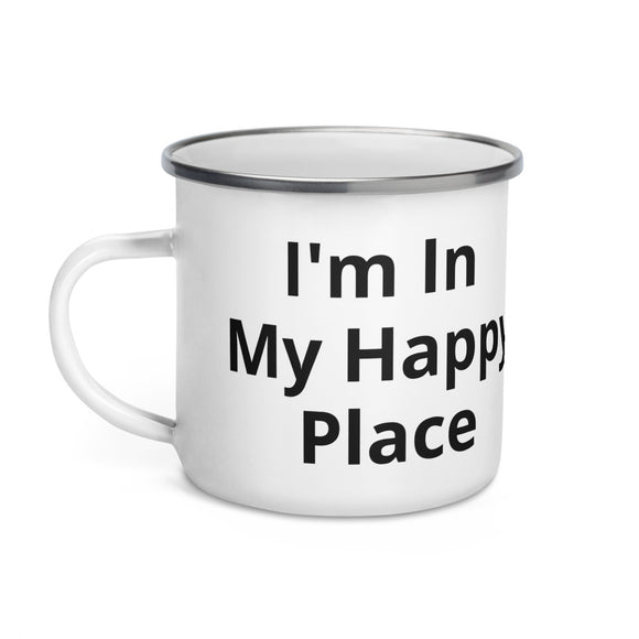 I'm In My Happy Place Black Text Enamel Mug