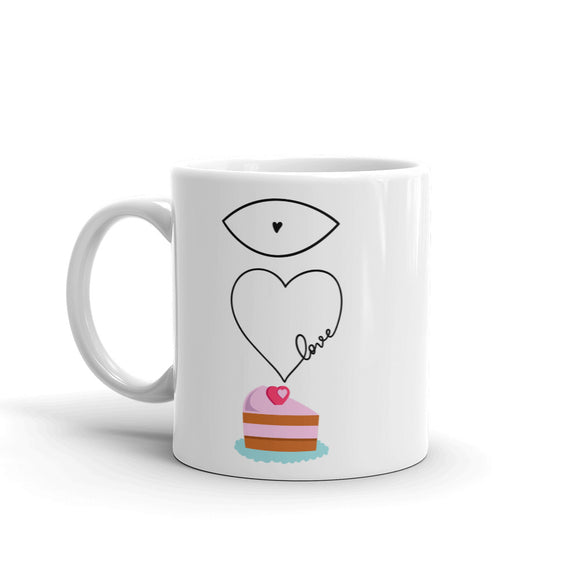 I Love Love Cake Funny Gag Gift Sense of Humour Mug For Him or Her