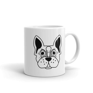 Why The F&*k Are you looking at me like that? French Bulldog with Rock Star Glasses On Art Print Mug
